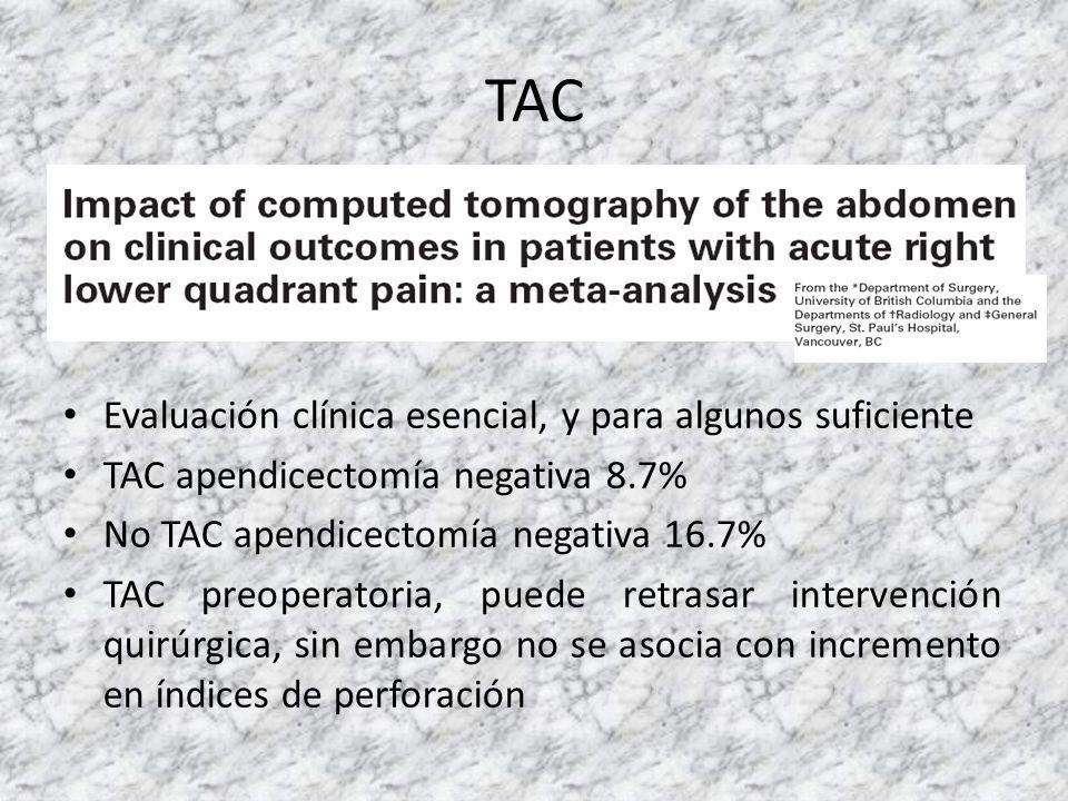 Evaluación clínica esencial, y para algunos suficiente TAC apendicectomía negativa 8.7% No TAC apendicectomía negativa 16.7% TAC preoperatoria, puede