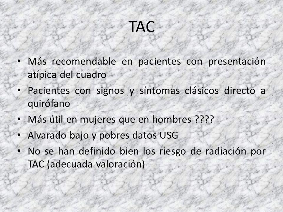 TAC Más recomendable en pacientes con presentación atípica del cuadro Pacientes con signos y síntomas clásicos directo a quirófano Más útil en mujeres