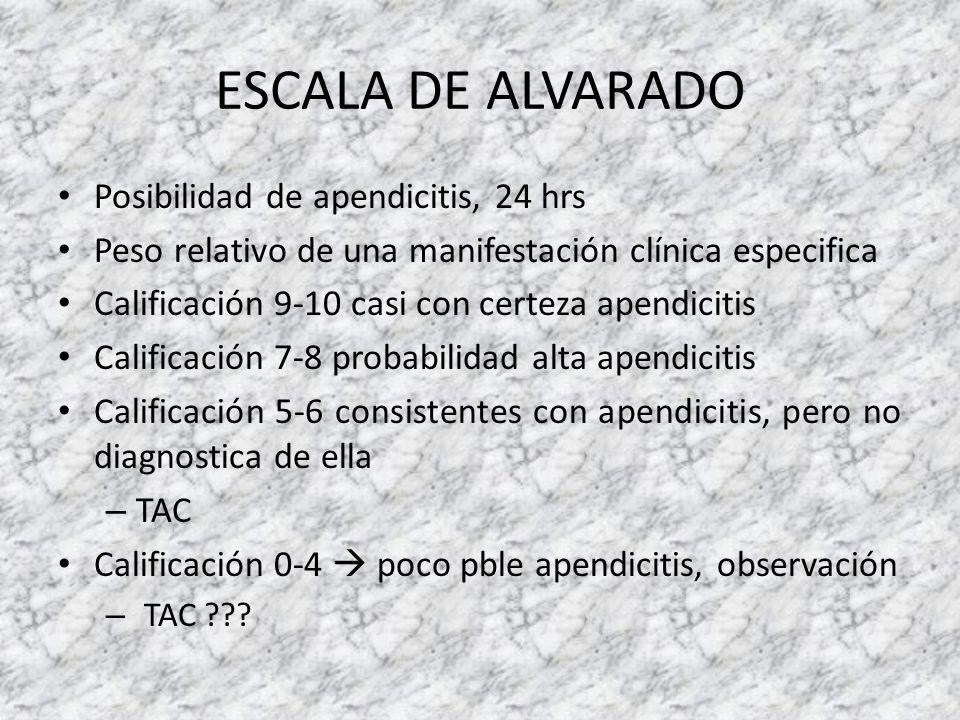 ESCALA DE ALVARADO Posibilidad de apendicitis, 24 hrs Peso relativo de una manifestación clínica especifica Calificación 9-10 casi con certeza apendic