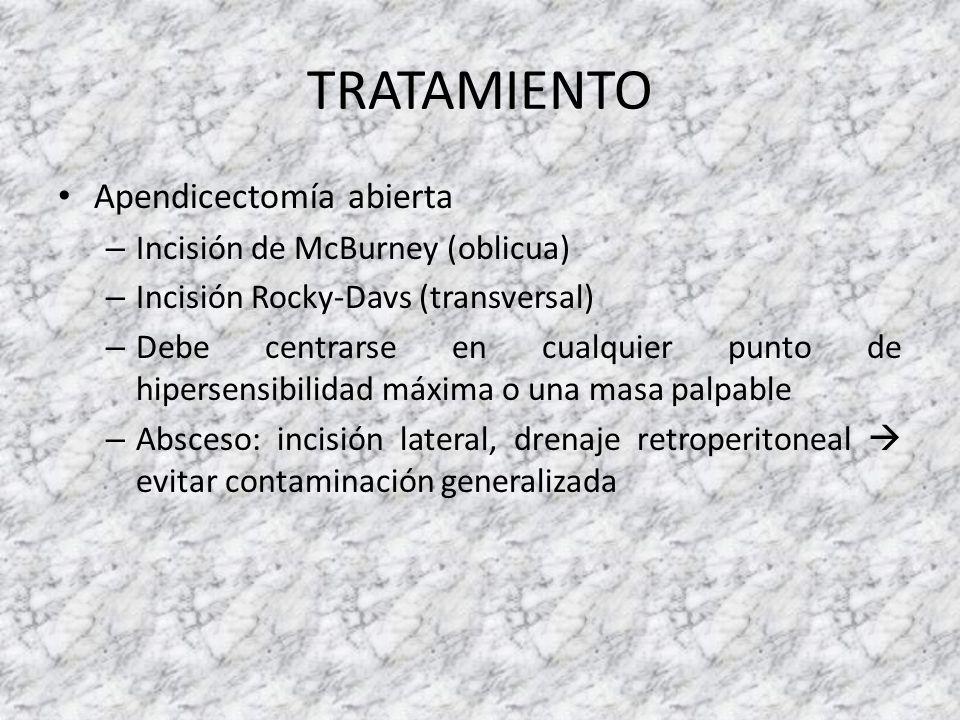 TRATAMIENTO Apendicectomía abierta – Incisión de McBurney (oblicua) – Incisión Rocky-Davs (transversal) – Debe centrarse en cualquier punto de hiperse