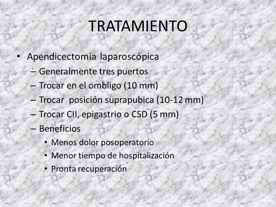 TRATAMIENTO Apendicectomía laparoscópica – Generalmente tres puertos – Trocar en el ombligo (10 mm) – Trocar posición suprapubica (10-12 mm) – Trocar