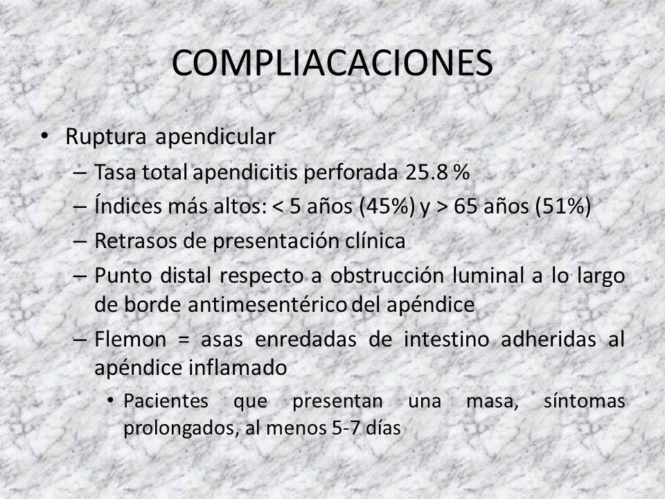 COMPLIACACIONES Ruptura apendicular – Tasa total apendicitis perforada 25.8 % – Índices más altos: 65 años (51%) – Retrasos de presentación clínica –