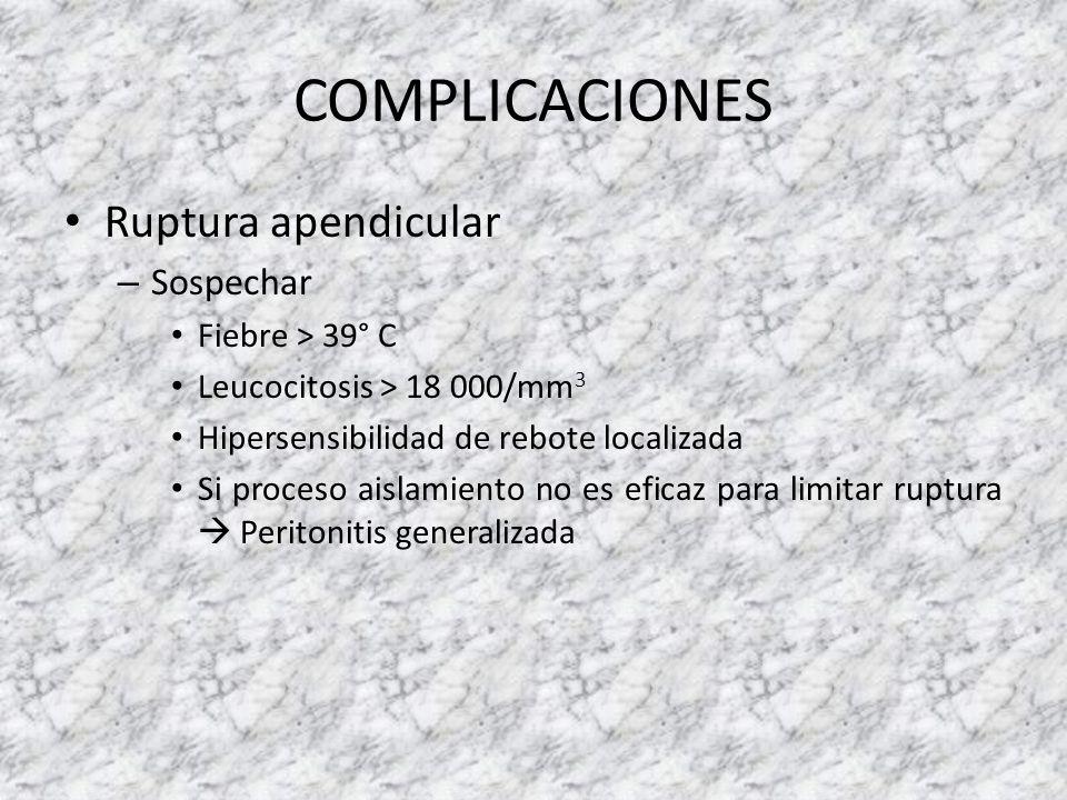 COMPLICACIONES Ruptura apendicular – Sospechar Fiebre > 39° C Leucocitosis > 18 000/mm 3 Hipersensibilidad de rebote localizada Si proceso aislamiento