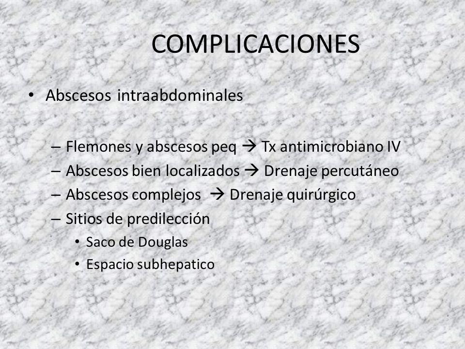 Abscesos intraabdominales – Flemones y abscesos peq Tx antimicrobiano IV – Abscesos bien localizados Drenaje percutáneo – Abscesos complejos Drenaje q