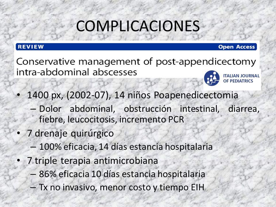COMPLICACIONES 1400 px, (2002-07), 14 niños Poapenedicectomia – Dolor abdominal, obstrucción intestinal, diarrea, fiebre, leucocitosis, incremento PCR