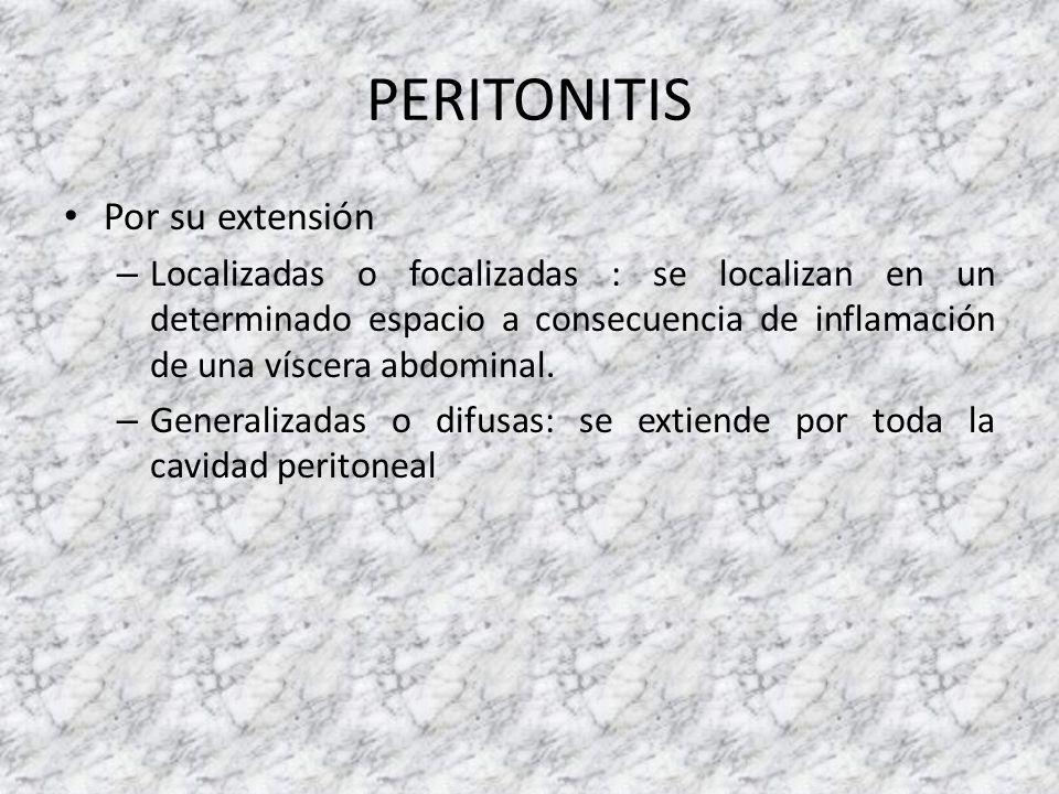 PERITONITIS Por su extensión – Localizadas o focalizadas : se localizan en un determinado espacio a consecuencia de inflamación de una víscera abdomin