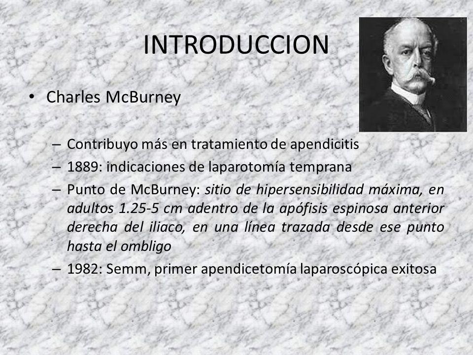 INTRODUCCION Charles McBurney – Contribuyo más en tratamiento de apendicitis – 1889: indicaciones de laparotomía temprana – Punto de McBurney: sitio d