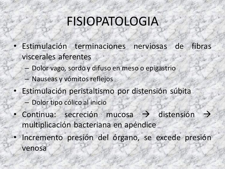 FISIOPATOLOGIA Estimulación terminaciones nerviosas de fibras viscerales aferentes – Dolor vago, sordo y difuso en meso o epigastrio – Nauseas y vómit