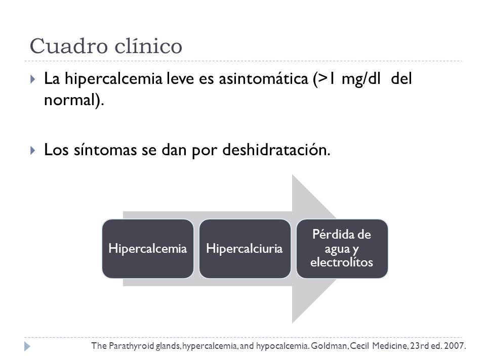 Cuadro clínico La hipercalcemia leve es asintomática (>1 mg/dl del normal). Los síntomas se dan por deshidratación. The Parathyroid glands, hypercalce