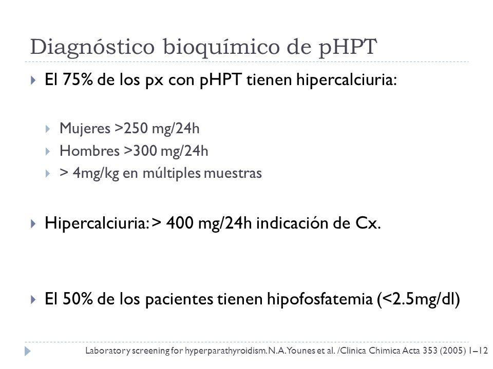 Diagnóstico bioquímico de pHPT El 75% de los px con pHPT tienen hipercalciuria: Mujeres >250 mg/24h Hombres >300 mg/24h > 4mg/kg en múltiples muestras