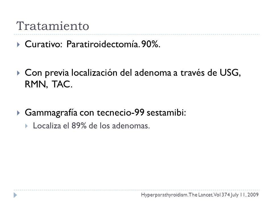 Tratamiento Curativo: Paratiroidectomía. 90%. Con previa localización del adenoma a través de USG, RMN, TAC. Gammagrafía con tecnecio-99 sestamibi: Lo