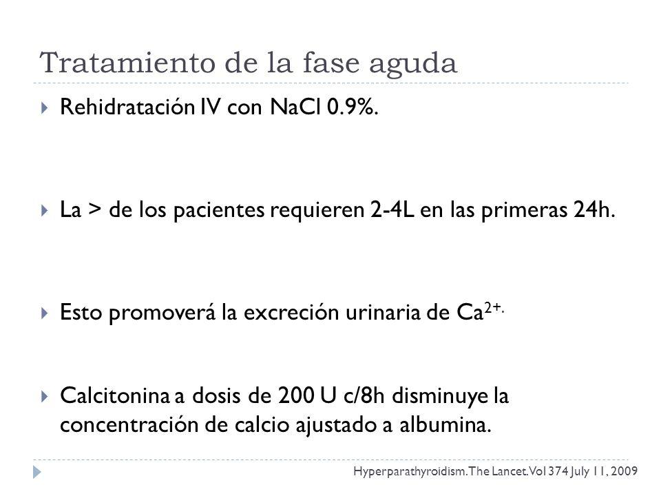 Tratamiento de la fase aguda Rehidratación IV con NaCl 0.9%. La > de los pacientes requieren 2-4L en las primeras 24h. Esto promoverá la excreción uri