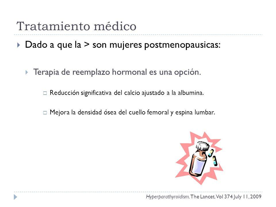 Tratamiento médico Dado a que la > son mujeres postmenopausicas: Terapia de reemplazo hormonal es una opción. Reducción significativa del calcio ajust