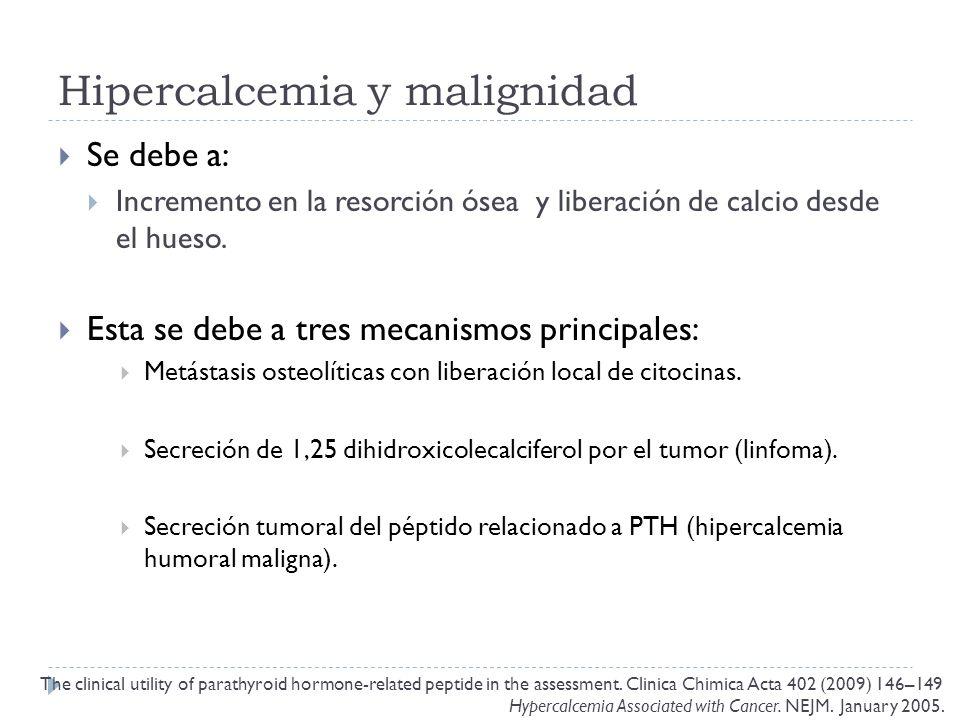 Hipercalcemia y malignidad Se debe a: Incremento en la resorción ósea y liberación de calcio desde el hueso. Esta se debe a tres mecanismos principale