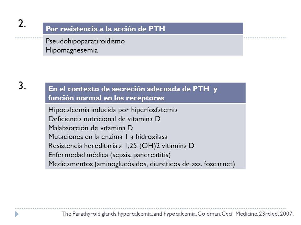 2. 3. Por resistencia a la acción de PTH Pseudohipoparatiroidismo Hipomagnesemia En el contexto de secreción adecuada de PTH y función normal en los r