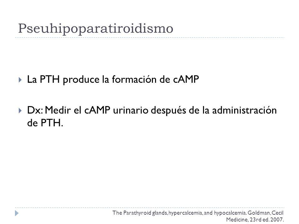 Pseuhipoparatiroidismo La PTH produce la formación de cAMP Dx: Medir el cAMP urinario después de la administración de PTH. The Parathyroid glands, hyp