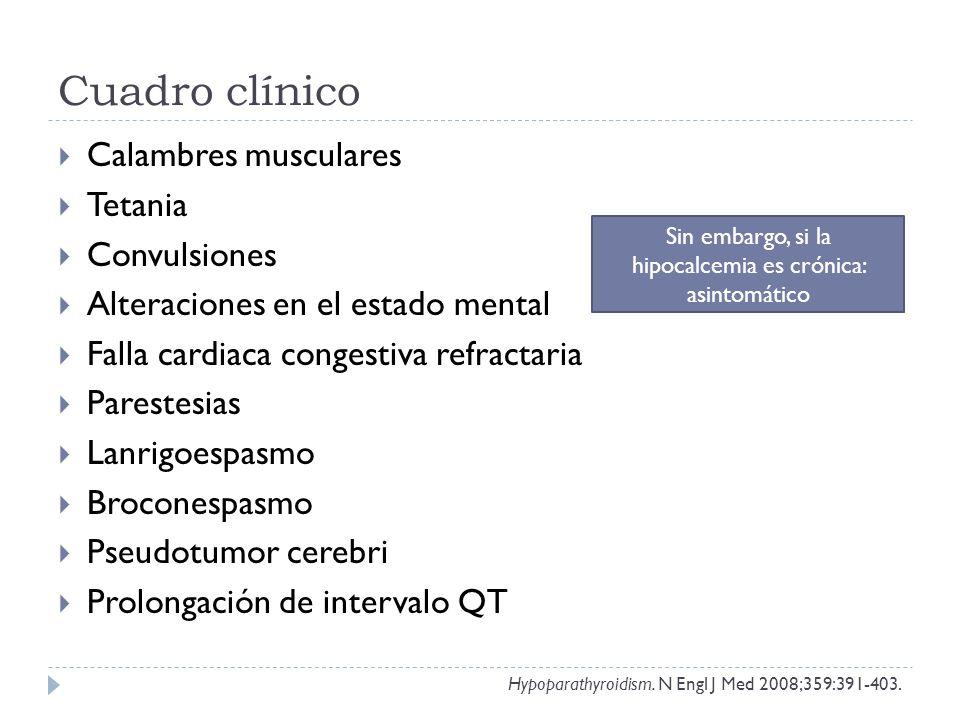 Cuadro clínico Calambres musculares Tetania Convulsiones Alteraciones en el estado mental Falla cardiaca congestiva refractaria Parestesias Lanrigoesp