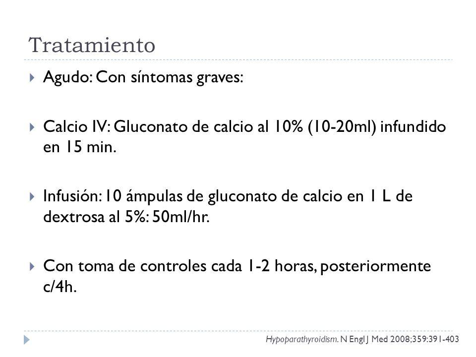 Tratamiento Agudo: Con síntomas graves: Calcio IV: Gluconato de calcio al 10% (10-20ml) infundido en 15 min. Infusión: 10 ámpulas de gluconato de calc