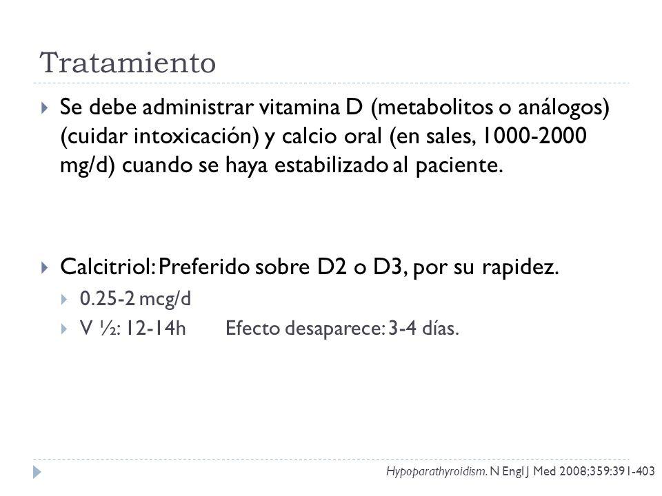 Tratamiento Se debe administrar vitamina D (metabolitos o análogos) (cuidar intoxicación) y calcio oral (en sales, 1000-2000 mg/d) cuando se haya esta