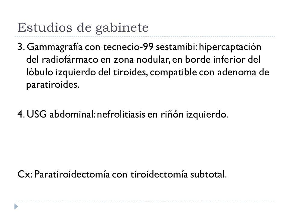 Estudios de gabinete 3. Gammagrafía con tecnecio-99 sestamibi: hipercaptación del radiofármaco en zona nodular, en borde inferior del lóbulo izquierdo