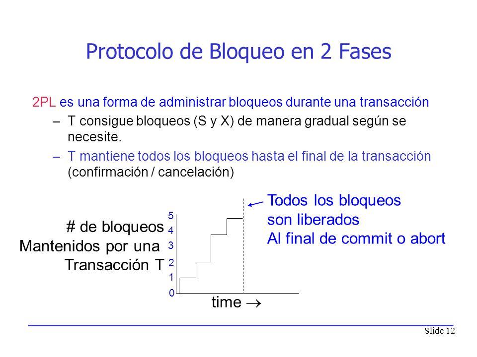 Slide 12 Protocolo de Bloqueo en 2 Fases 2PL es una forma de administrar bloqueos durante una transacción –T consigue bloqueos (S y X) de manera gradu
