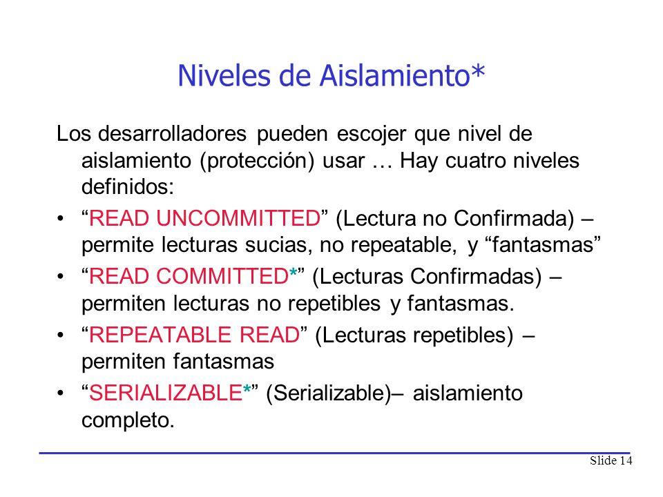 Slide 14 Niveles de Aislamiento* Los desarrolladores pueden escojer que nivel de aislamiento (protección) usar … Hay cuatro niveles definidos: READ UN