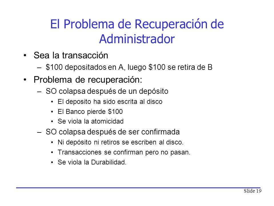 Slide 19 El Problema de Recuperación de Administrador Sea la transacción –$100 depositados en A, luego $100 se retira de B Problema de recuperación: –