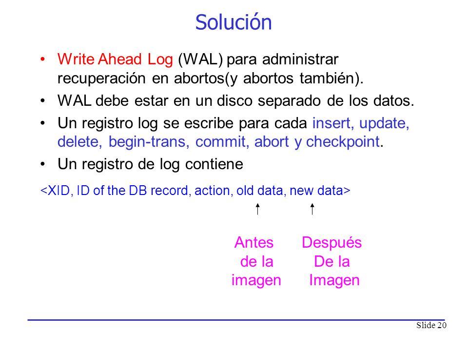 Slide 20 Solución Write Ahead Log (WAL) para administrar recuperación en abortos(y abortos también). WAL debe estar en un disco separado de los datos.