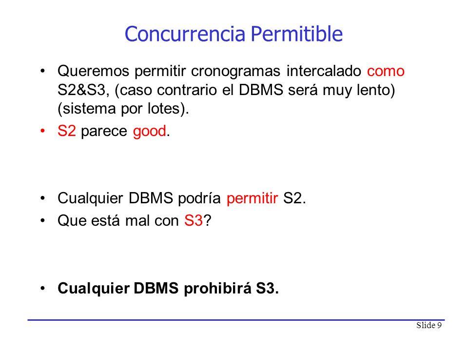 Slide 9 Concurrencia Permitible Queremos permitir cronogramas intercalado como S2&S3, (caso contrario el DBMS será muy lento) (sistema por lotes). S2