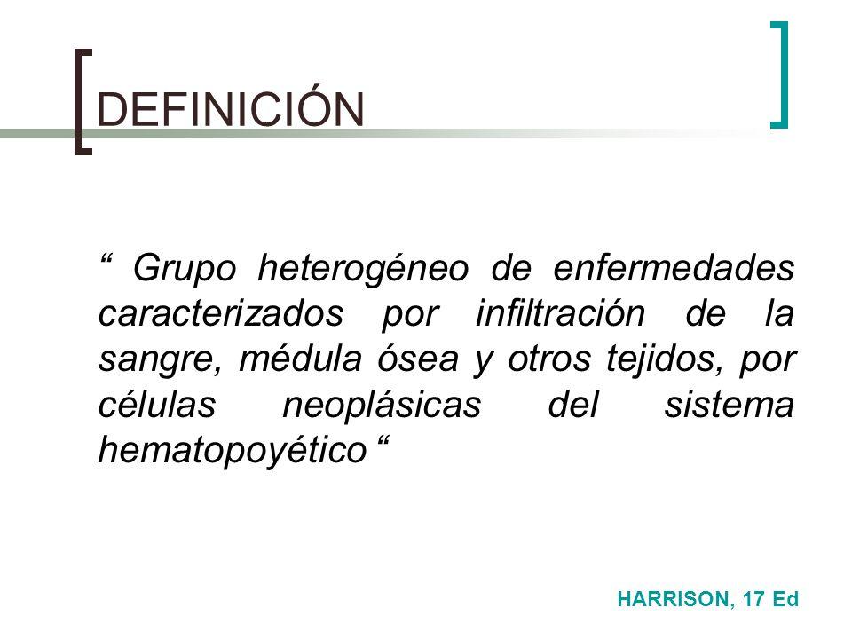DEFINICIÓN Grupo heterogéneo de enfermedades caracterizados por infiltración de la sangre, médula ósea y otros tejidos, por células neoplásicas del si