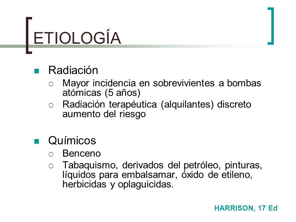 ETIOLOGÍA Radiación Mayor incidencia en sobrevivientes a bombas atómicas (5 años) Radiación terapéutica (alquilantes) discreto aumento del riesgo Quím