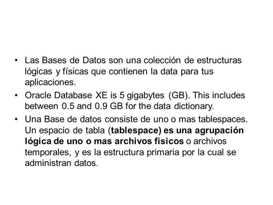Estructuras Lógicas, tablespace creadas y reconocidas sólo por la base de datos y no por el Sistema Operativo Estructuras físicas, son las operadas por el SO como los archivos físicos que almacenan datos.