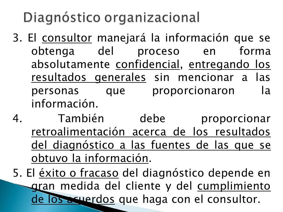 Podemos dividir al diagn ó stico organizacional en tres etapas principales: Generaci ó n de informaci ó n, organizaci ó n de la informaci ó n, an á lisis e interpretaci ó n de la informaci ó n.