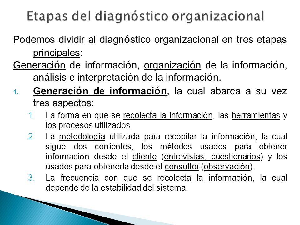 Podemos dividir al diagn ó stico organizacional en tres etapas principales: Generaci ó n de informaci ó n, organizaci ó n de la informaci ó n, an á li