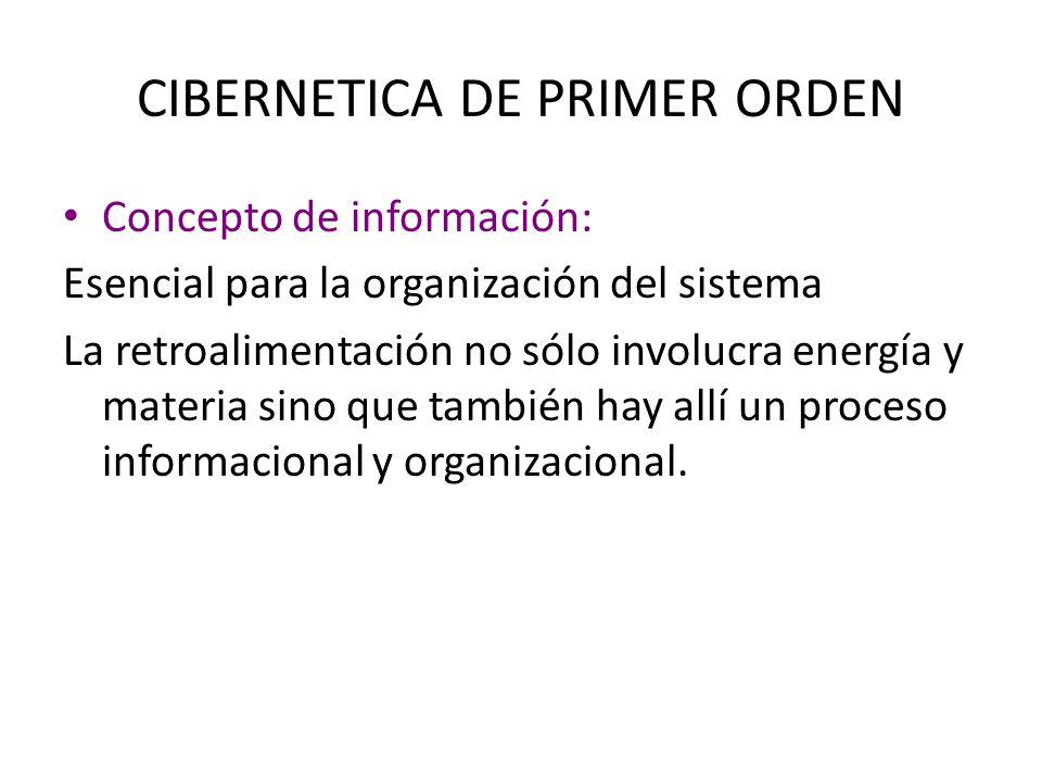 CIBERNETICA DE PRIMER ORDEN Concepto de información: Esencial para la organización del sistema La retroalimentación no sólo involucra energía y materi