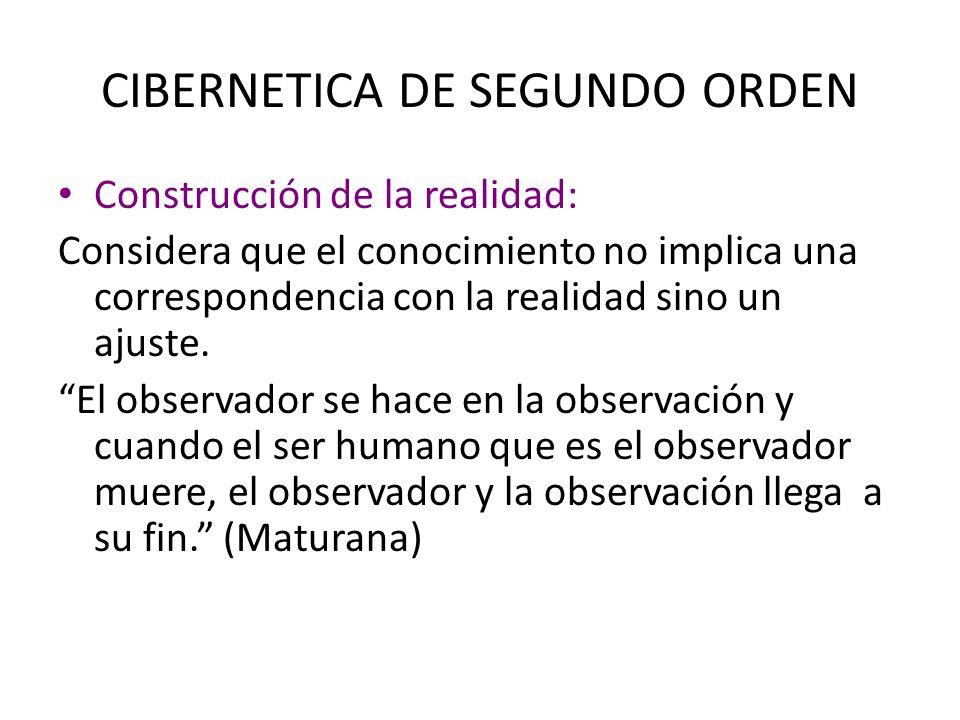 CIBERNETICA DE SEGUNDO ORDEN Construcción de la realidad: La construcción es el resultado de la autorregulación del sistema.