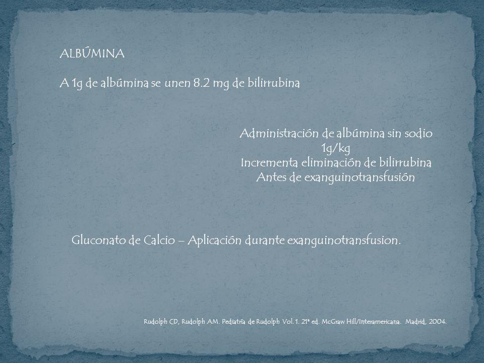 ALBÚMINA A 1g de albúmina se unen 8.2 mg de bilirrubina Administración de albúmina sin sodio 1g/kg Incrementa eliminación de bilirrubina Antes de exan