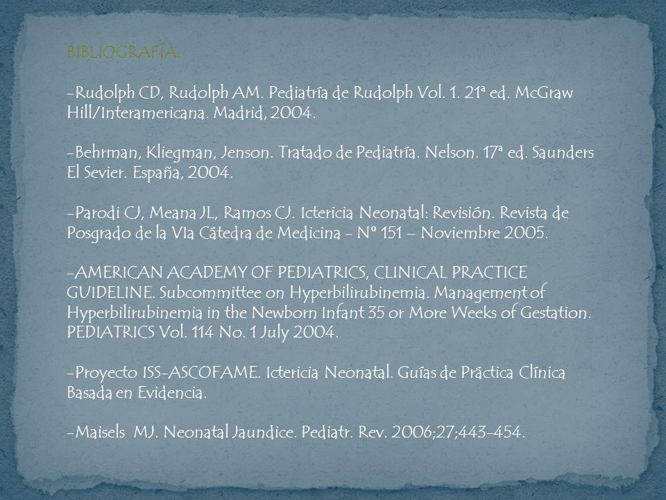 BIBLIOGRAFÍA: -Rudolph CD, Rudolph AM. Pediatría de Rudolph Vol. 1. 21ª ed. McGraw Hill/Interamericana. Madrid, 2004. -Behrman, Kliegman, Jenson. Trat