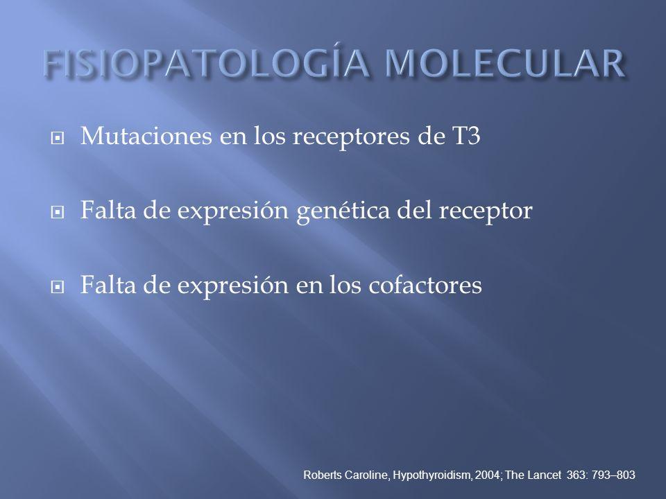 Mutaciones en los receptores de T3 Falta de expresión genética del receptor Falta de expresión en los cofactores Roberts Caroline, Hypothyroidism, 200