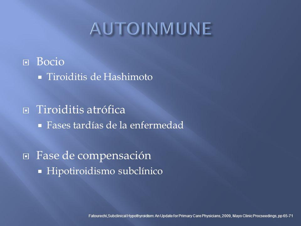 Bocio Tiroiditis de Hashimoto Tiroiditis atrófica Fases tardías de la enfermedad Fase de compensación Hipotiroidismo subclínico Fatourechi,Subclinical