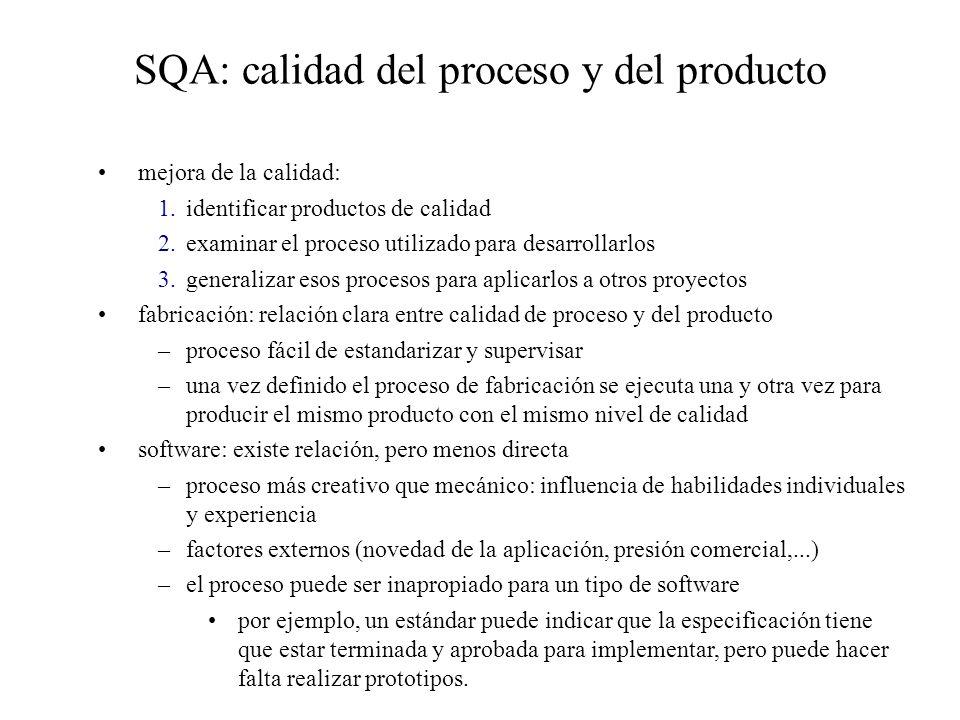 SQA: calidad del proceso y del producto mejora de la calidad: 1.identificar productos de calidad 2.examinar el proceso utilizado para desarrollarlos 3.generalizar esos procesos para aplicarlos a otros proyectos fabricación: relación clara entre calidad de proceso y del producto –proceso fácil de estandarizar y supervisar –una vez definido el proceso de fabricación se ejecuta una y otra vez para producir el mismo producto con el mismo nivel de calidad software: existe relación, pero menos directa –proceso más creativo que mecánico: influencia de habilidades individuales y experiencia –factores externos (novedad de la aplicación, presión comercial,...) –el proceso puede ser inapropiado para un tipo de software por ejemplo, un estándar puede indicar que la especificación tiene que estar terminada y aprobada para implementar, pero puede hacer falta realizar prototipos.