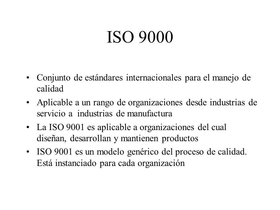 ISO 9000 Conjunto de estándares internacionales para el manejo de calidad Aplicable a un rango de organizaciones desde industrias de servicio a industrias de manufactura La ISO 9001 es aplicable a organizaciones del cual diseñan, desarrollan y mantienen productos ISO 9001 es un modelo genérico del proceso de calidad.