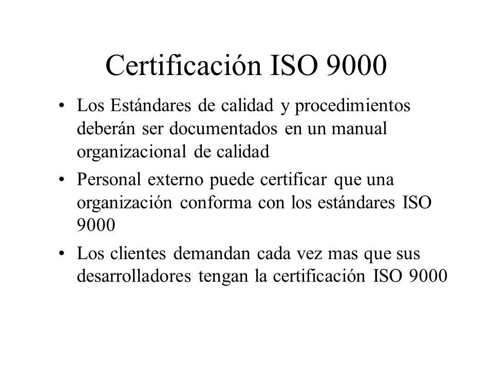 Certificación ISO 9000 Los Estándares de calidad y procedimientos deberán ser documentados en un manual organizacional de calidad Personal externo puede certificar que una organización conforma con los estándares ISO 9000 Los clientes demandan cada vez mas que sus desarrolladores tengan la certificación ISO 9000