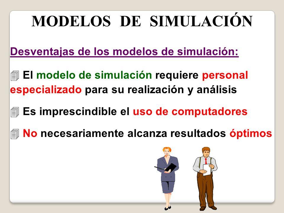 MODELOS DE SIMULACIÓN Desventajas de los modelos de simulación: 4 El modelo de simulación requiere personal especializado para su realización y anális