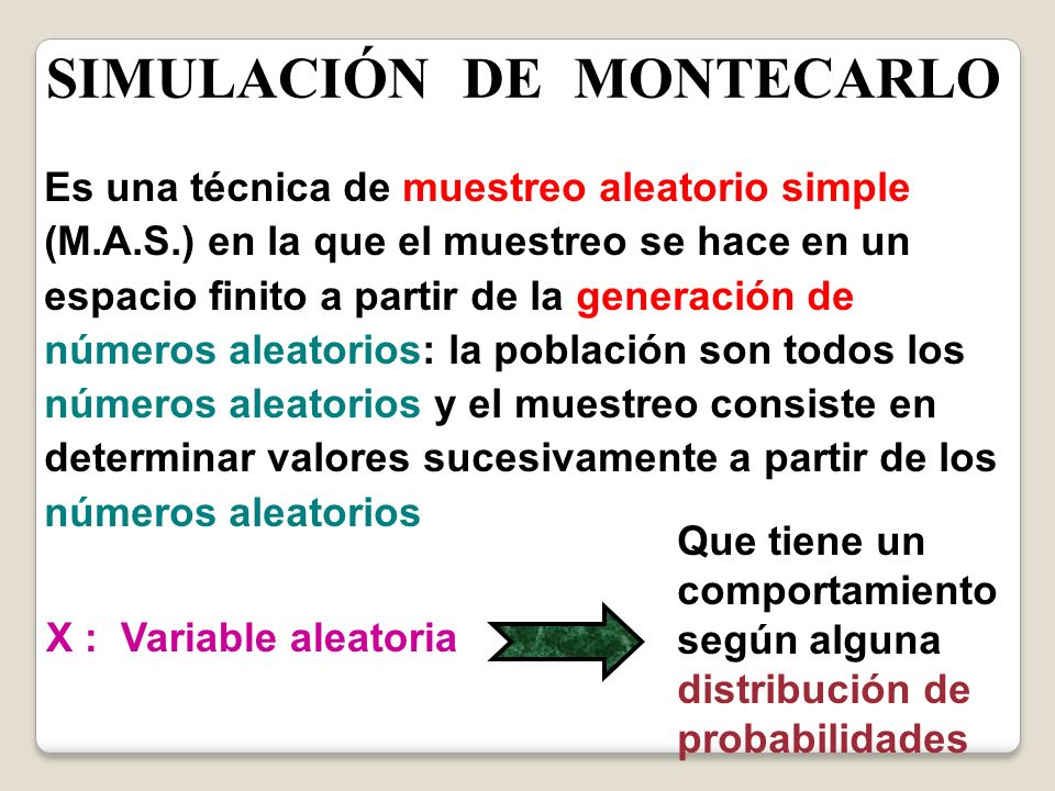 SIMULACIÓN DE MONTECARLO Se obtienen valores para X ( X1, X2, X3,........., Xn ) X1 X2 X3 Xn Son valores generados utilizado un M.A.S.