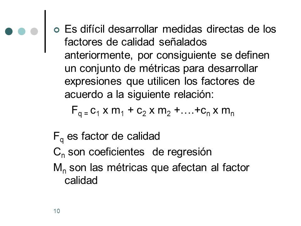 10 Es difícil desarrollar medidas directas de los factores de calidad señalados anteriormente, por consiguiente se definen un conjunto de métricas para desarrollar expresiones que utilicen los factores de acuerdo a la siguiente relación: F q = c 1 x m 1 + c 2 x m 2 +….+c n x m n F q es factor de calidad C n son coeficientes de regresión M n son las métricas que afectan al factor calidad