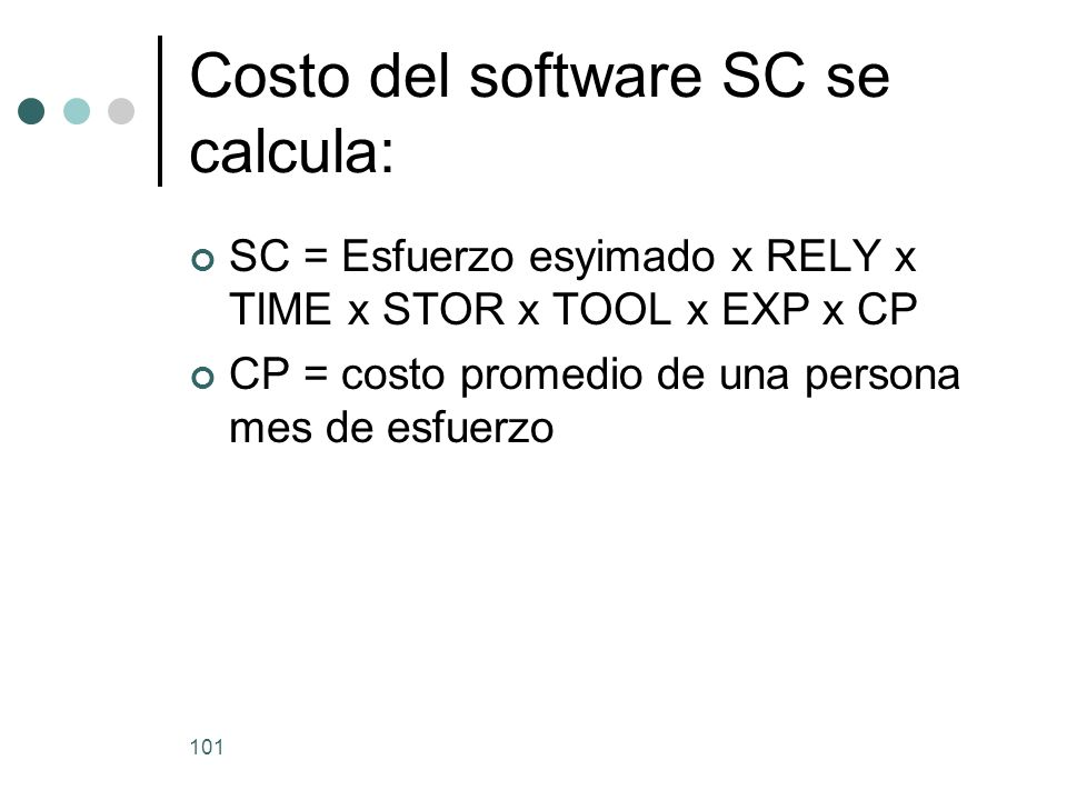 101 Costo del software SC se calcula: SC = Esfuerzo esyimado x RELY x TIME x STOR x TOOL x EXP x CP CP = costo promedio de una persona mes de esfuerzo