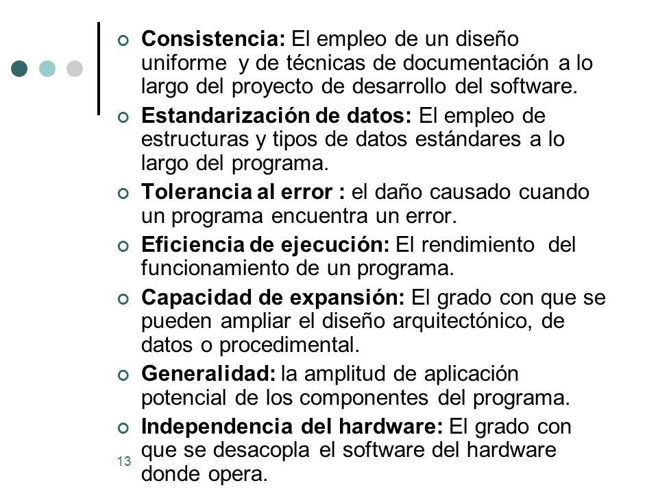 13 Consistencia: El empleo de un diseño uniforme y de técnicas de documentación a lo largo del proyecto de desarrollo del software.