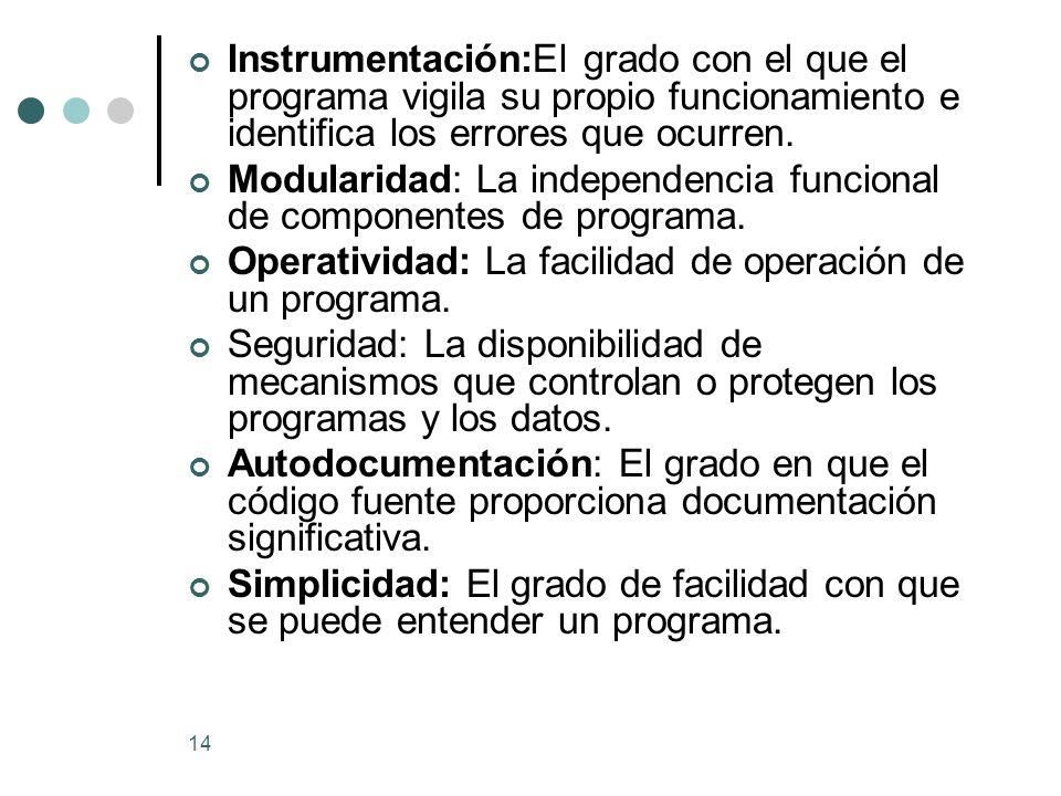 14 Instrumentación:El grado con el que el programa vigila su propio funcionamiento e identifica los errores que ocurren.