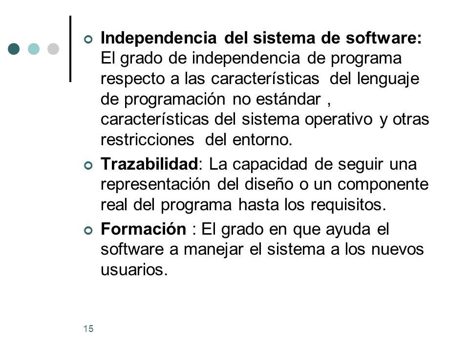 15 Independencia del sistema de software: El grado de independencia de programa respecto a las características del lenguaje de programación no estándar, características del sistema operativo y otras restricciones del entorno.